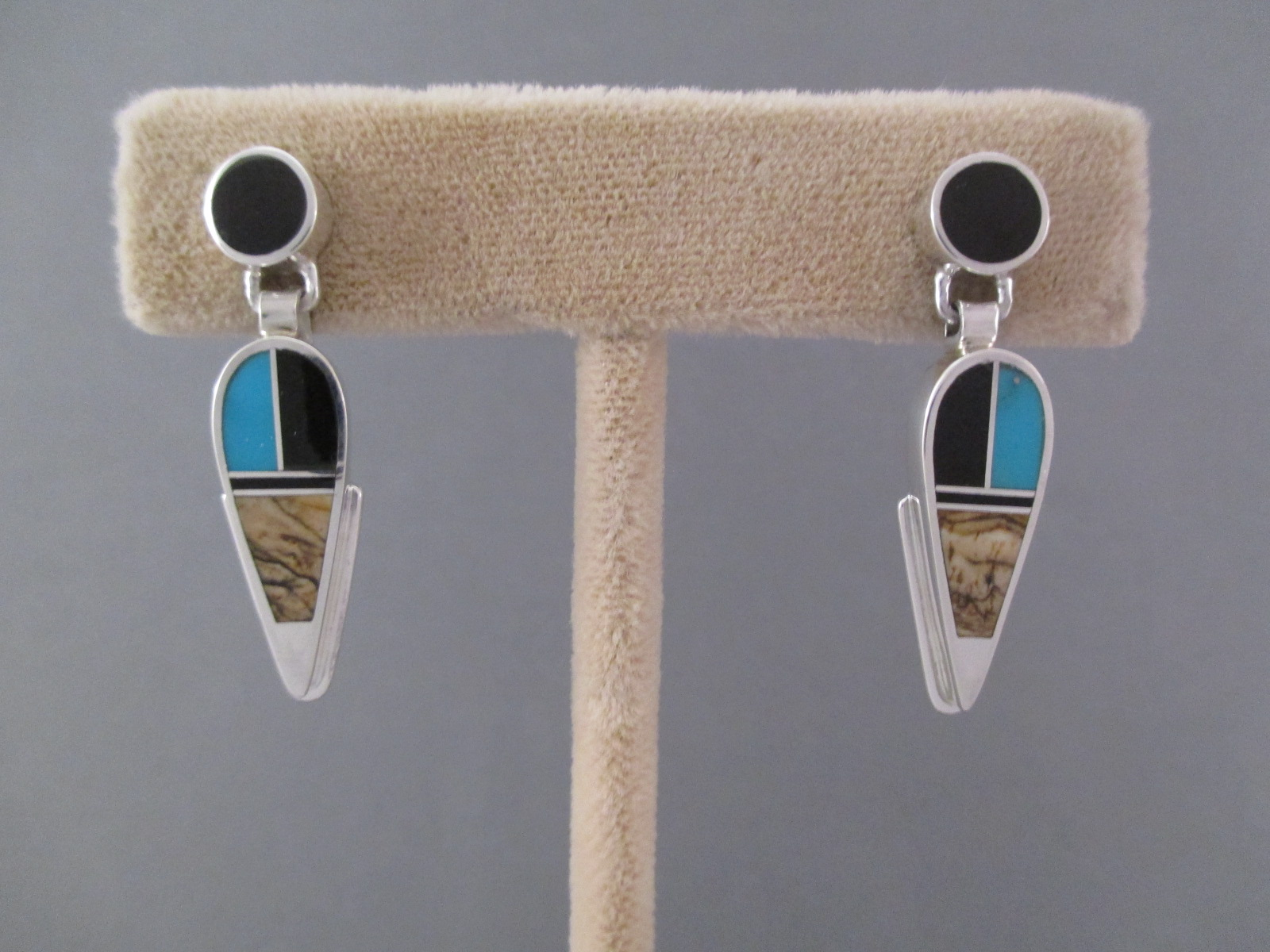 EA9865-Multi-Stone-Inlay-Earrings-with-Turquoise-by-Native-American-Navajo-Indian-jewelry-artist-Delphine-Benally-180-