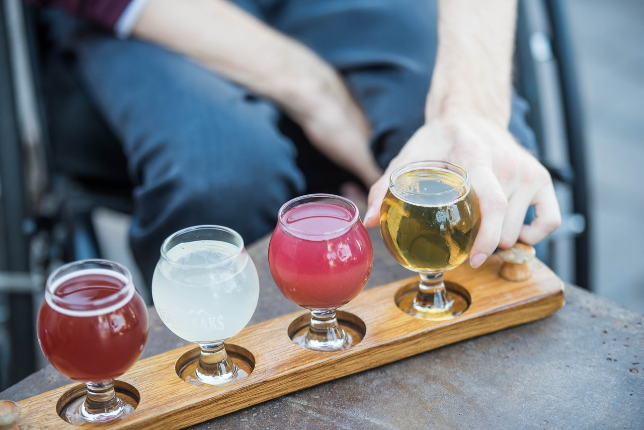 four types of best beers in glasses
